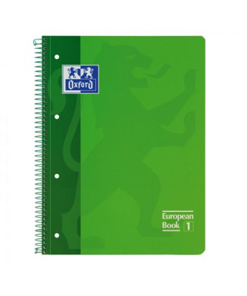 Oxford Caderno Espiral Euro, A4, 80 Folhas, Pautado, Capa Cartão, Verde