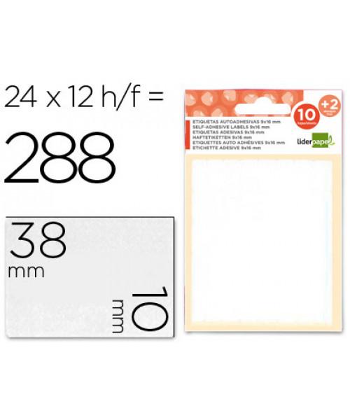 Etiquetas adesivas 10 + 2 folhas, 10x38 mm, 252 etiquetas.