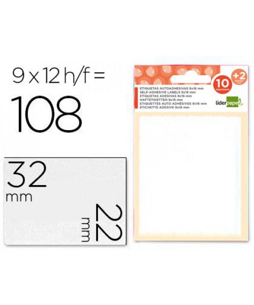 Etiquetas adesivas 10 + 2 folhas, 22x32 mm, 108 etiquetas.
