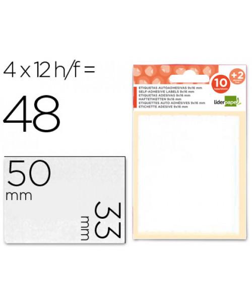 Etiquetas adesivas 10 + 2 folhas, 33x50 mm, 48 etiquetas.